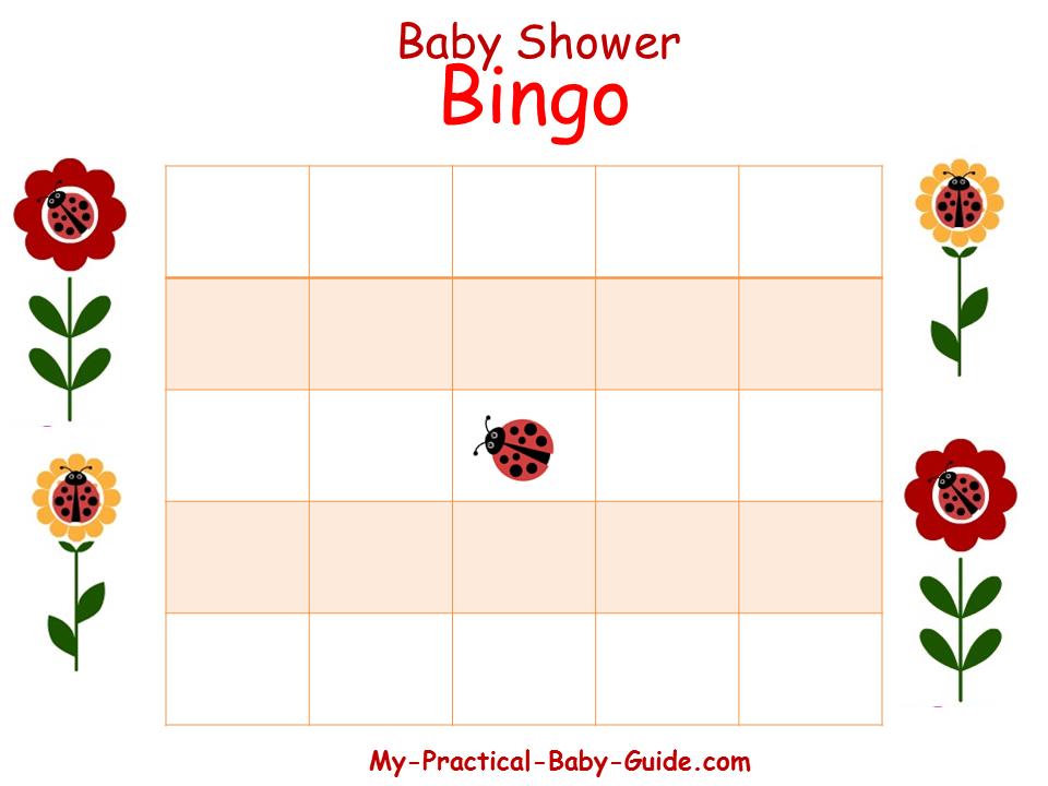 Ladybug Baby Shower Blank Bingo Cards
