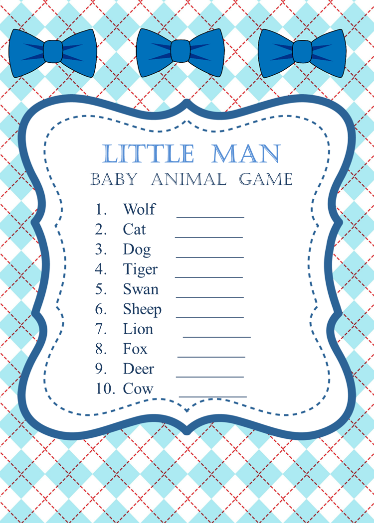 Printable Little Man Baby Shower Bows Baby Animal Game