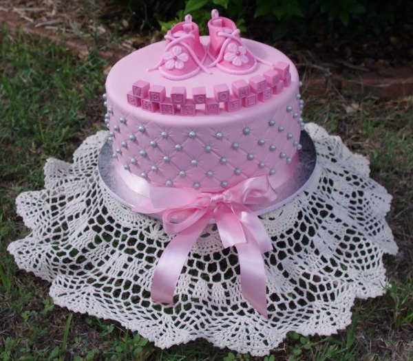 Little Girl Shoes Baby Shower Cake