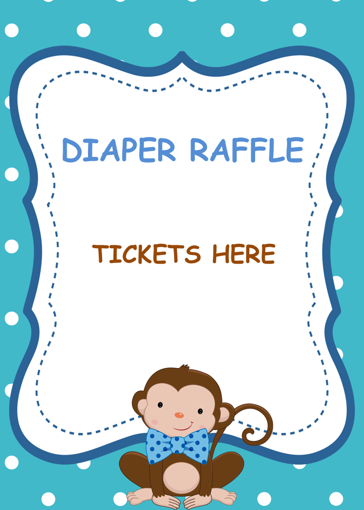 Printable Monkey Little Man Baby Shower Bows Diaper Raffle Tickets