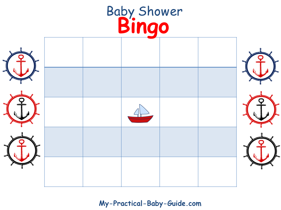 Nautical Baby Shower Blank Bingo Cards