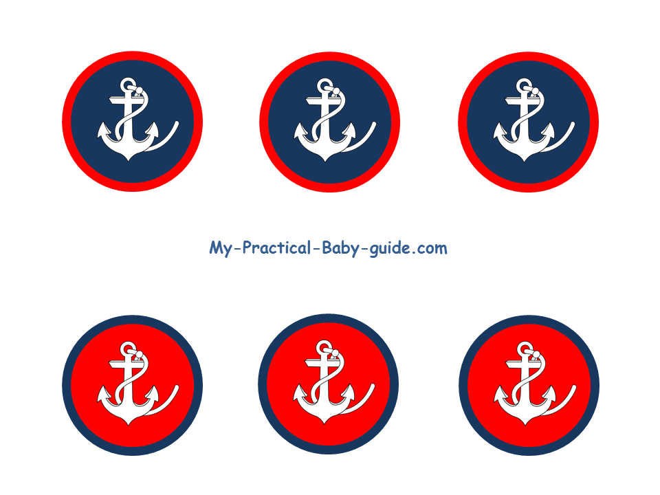 Free Printable Nautical Anchor Birthday Cupcake Toppers