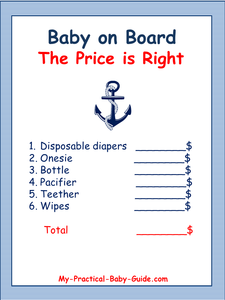 Free Printable Nautical Baby Shower Game - The Price is Right