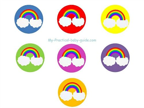 Free Noah's Ark Rainbow Baby Shower Cupcake Toppers