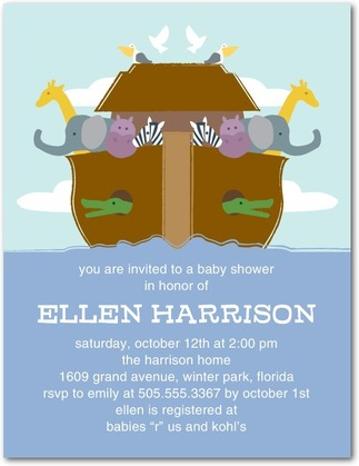 Noah's Ark Boy Baby Shower Invitation