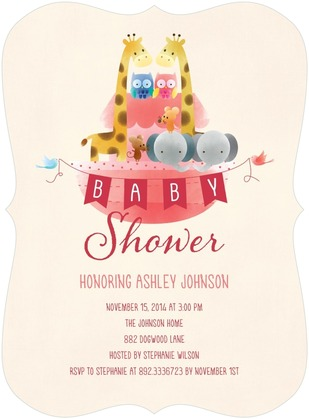 Noah's Ark Girl Baby Shower Invitation