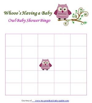 Free Owl Baby Shower Blank Bingo Cards