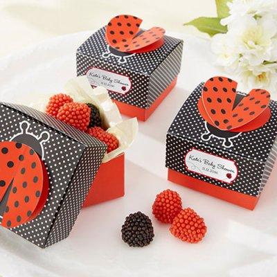 3D ladybug favor boxes
