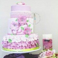 Pink Flower Girl Baby Shower Cake