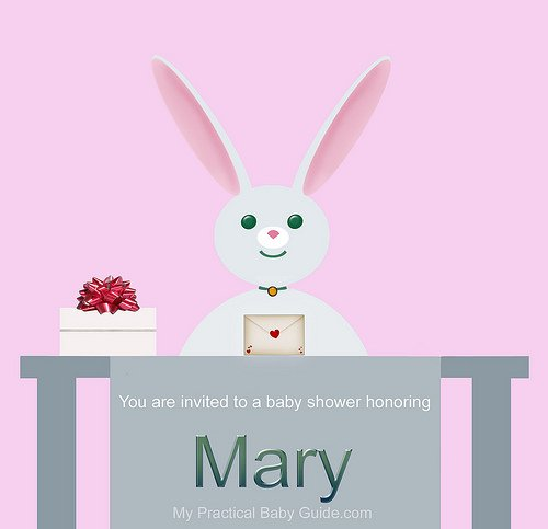 Free Printable Rabbit Girl Baby Shower Invitation