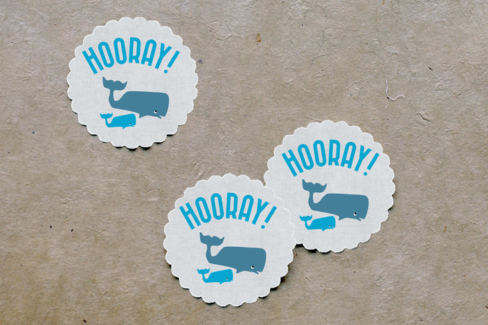 Whale Supply Decorations Scalloped Stickers
