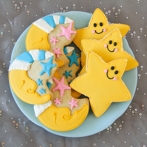Moon and Stars Shaped Cookies