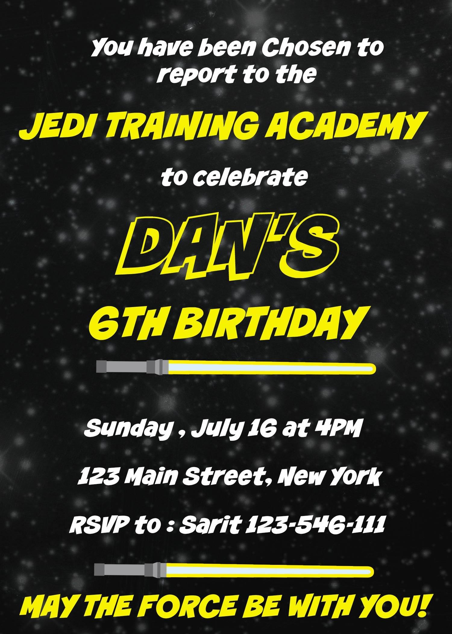 Printable Star Wars Birthday Invitation
