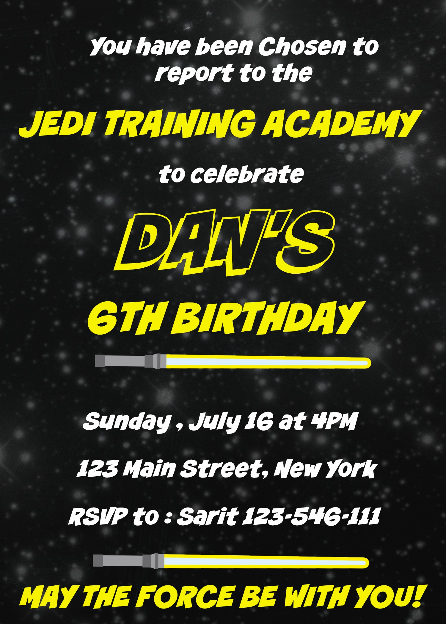 Printable Star Wars Birthday Invitation