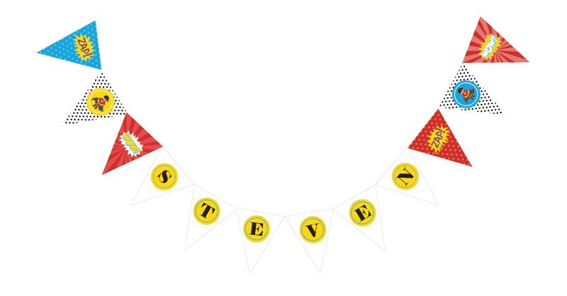 Personalized Superhero Bunting Flags