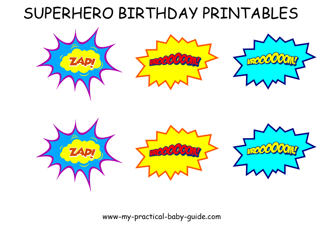 Free Printables Speech Bubbles Cupcake Toppers Superhero Birthday Party
