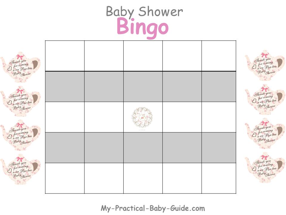 Free Printable Tea Party Baby Shower Bingo Blank Cards