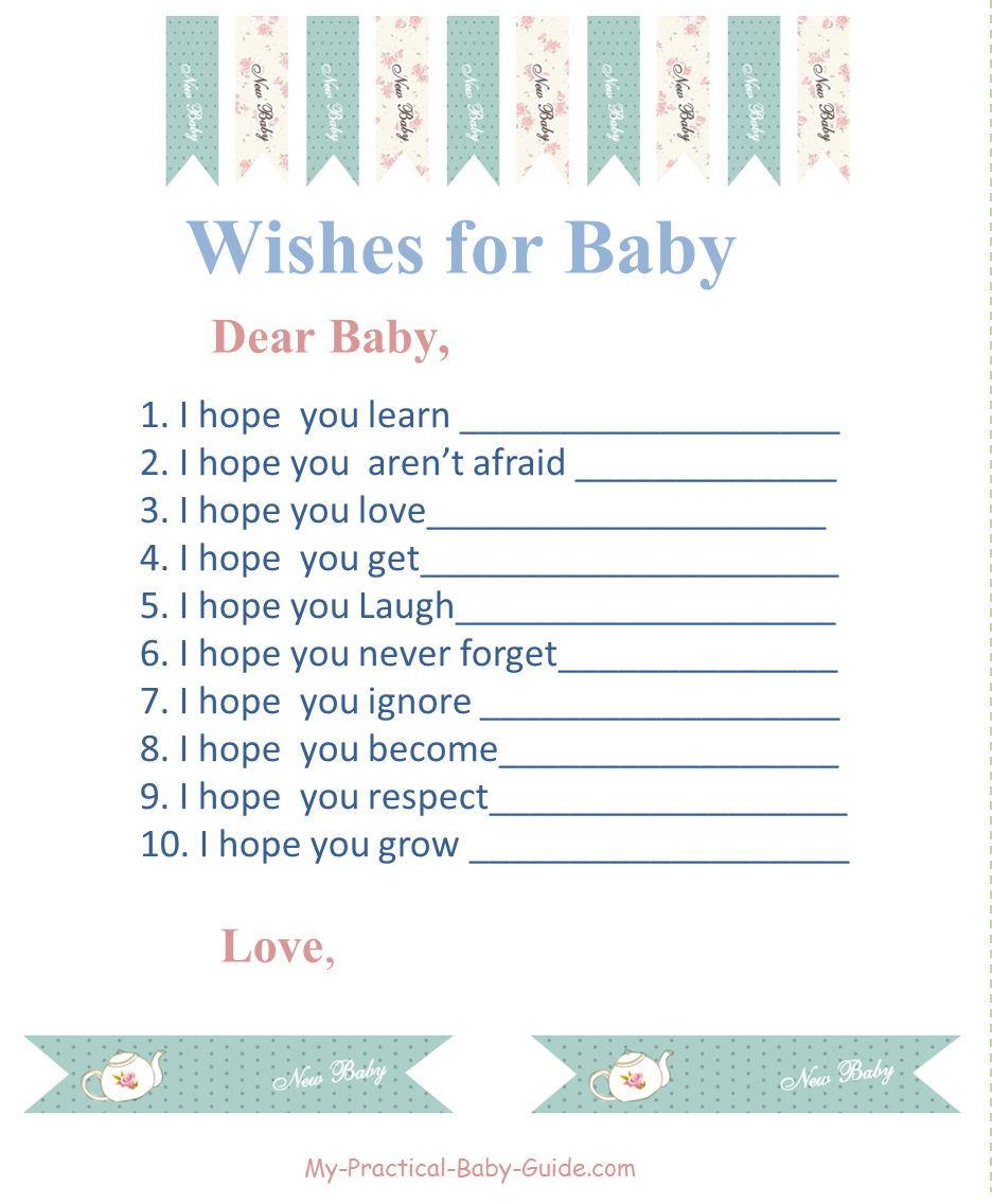 Free Printable Tea Party Baby Shower Wishes for Baby