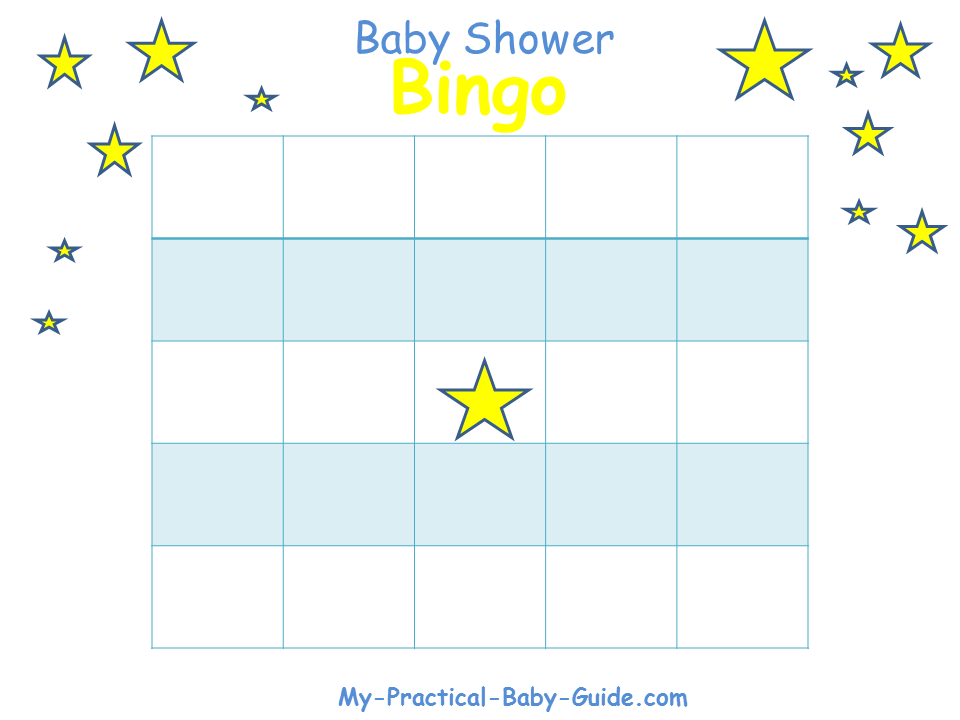Twinkle Twinkle Little Star Baby Shower Blank Bingo Blank Cards
