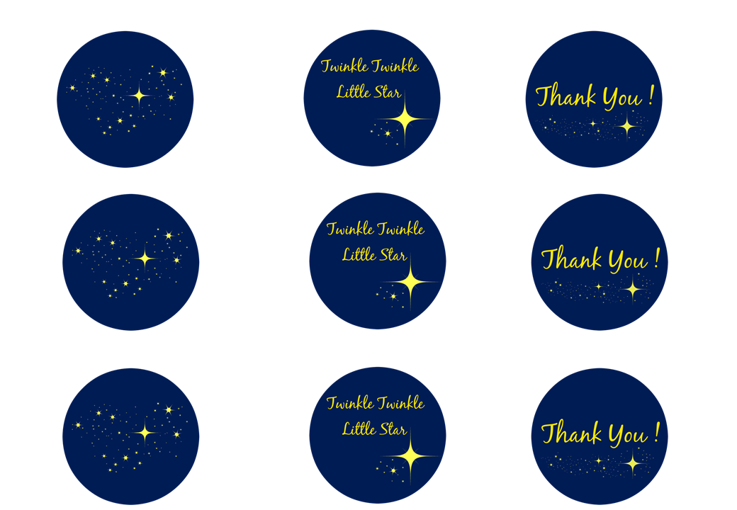 Twinkle Twinkle Little Star Cupcake Toppers Gift Tags
