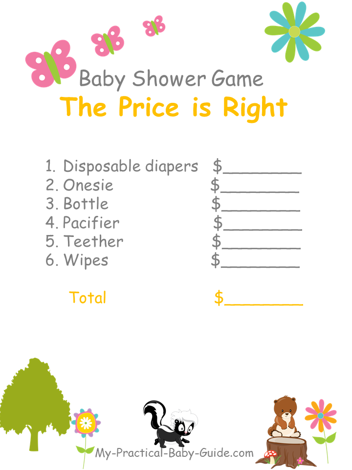 Free Printable Woodland Themed Baby Shower The Price is Right