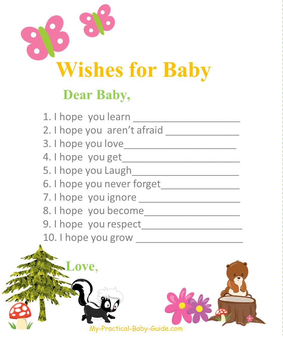 Free Printable Woodland Themed Baby Shower Wishes for Baby Cards