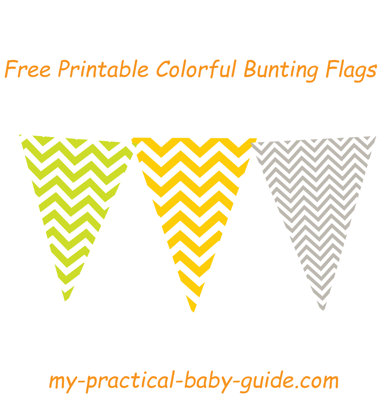 Free Printable Colorful Chevron Bunting Flags Lime Green Orange and Gray
